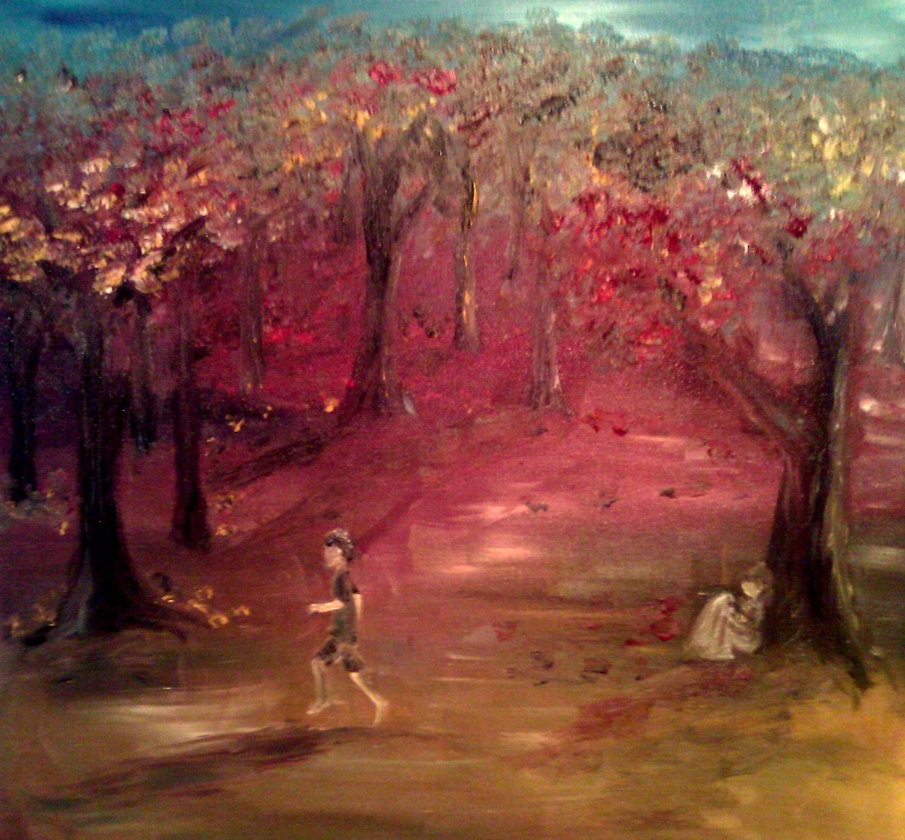 boy running through forest and girl reading
