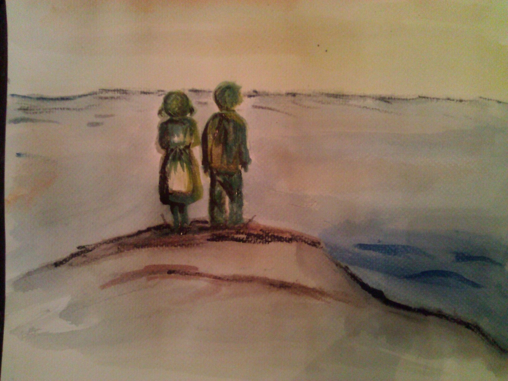 two kids on shore looking out at sea