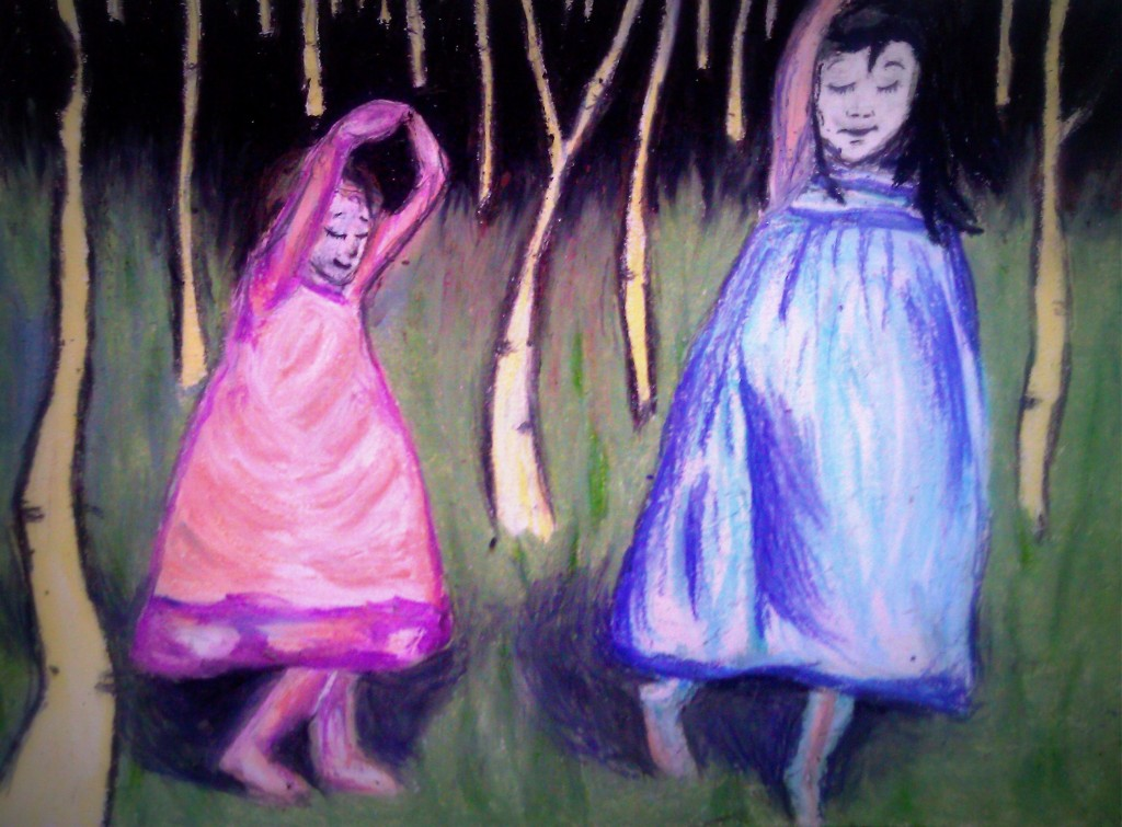 two girls dancing in forest